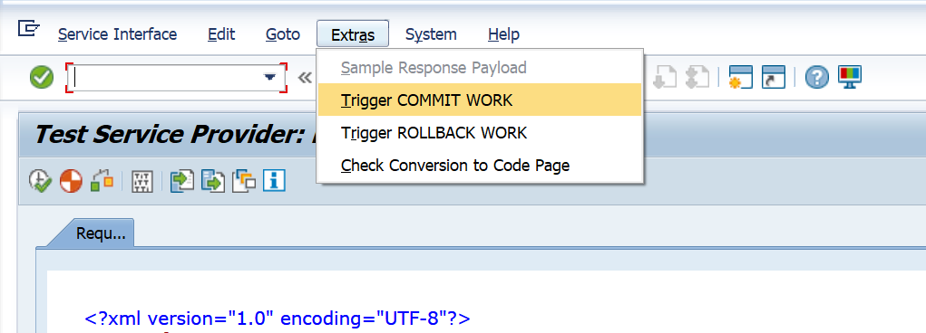 Test XML in SAP Trigger COMMIT WORK SAP