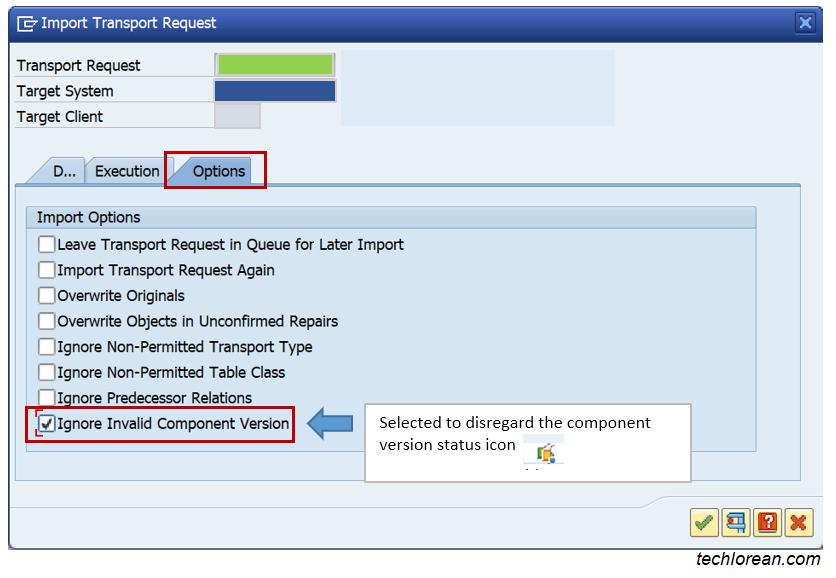 SAP Transport Error Invalid Component Version