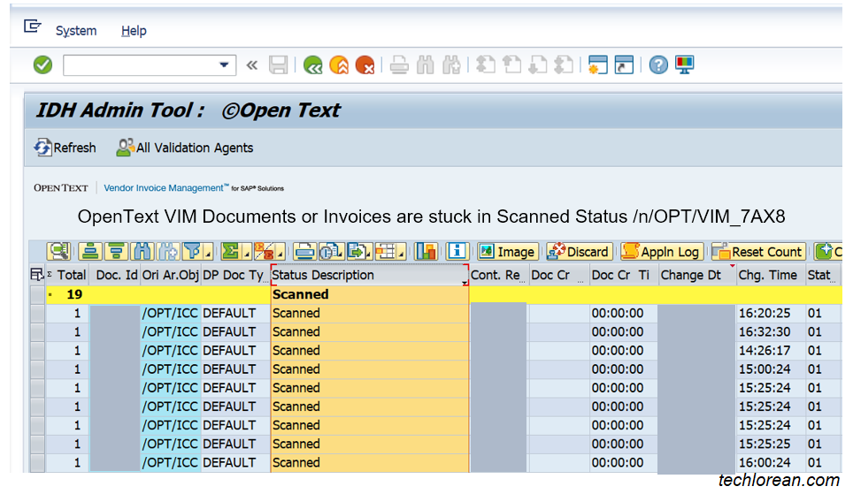 OpenText VIM Invoices in SAP are Stuck in Scanned Status /OPT/VIM_7AX8 Admin Tool
