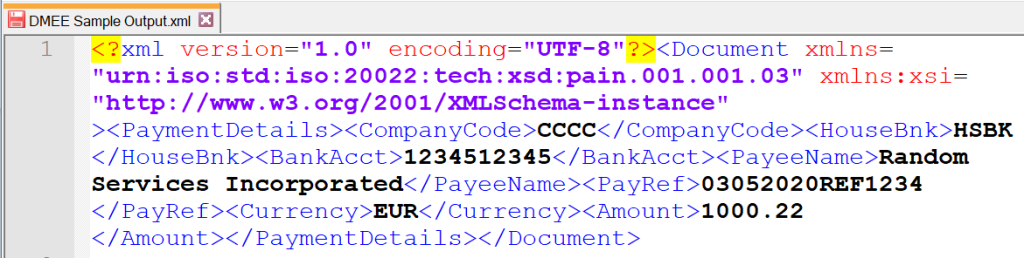 SAP DMEE XML OUTPUT FILE