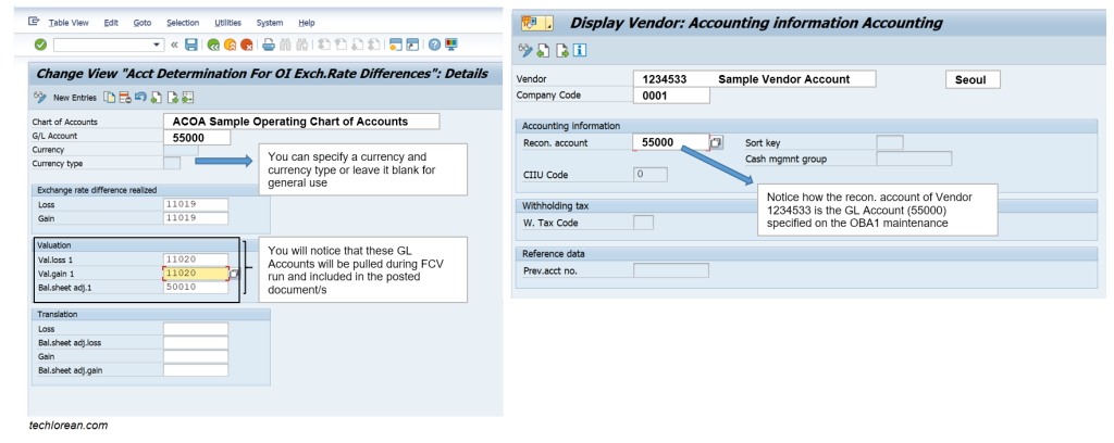 SAP Foreign Currency Valuation Configuration Account Determination Link GL Account to FCV Run OBA1