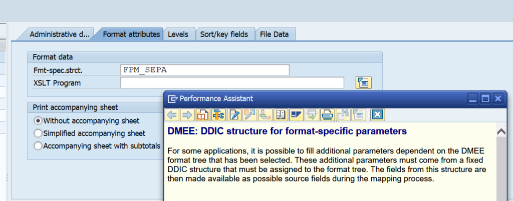 What is the use of the FPM_SEPA structure fields XMLNS and XSI in SAP DME Tree Properties Format Attributes Tab?