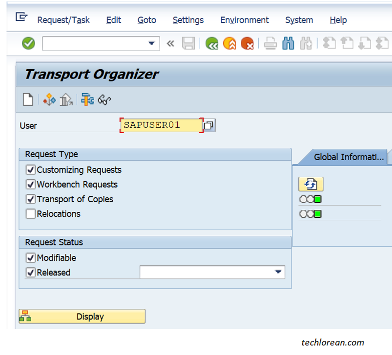How to Create Transport of Copies (TOC) in SAP. SE10 Transport Organizer