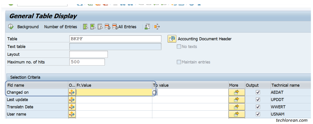 Utilizing CDHDR and CDPOS SAP Tables for Change Logs. BKPF CHANGED ON.